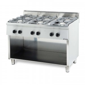 GAS BOILING TOP SERIES ST: 6 BURN. WITH OPEN BASE