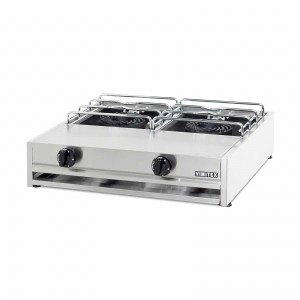 GAS BOILING TOP: 2 BURN/CHR.STEEL D45 PAN